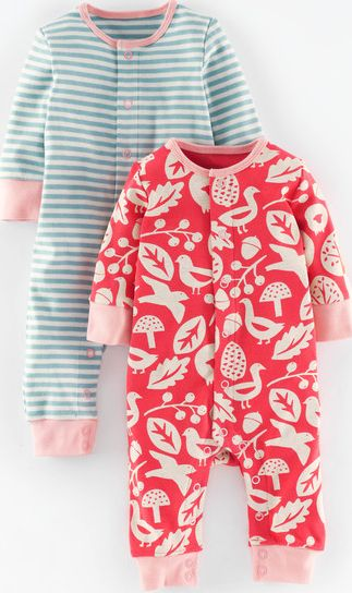 Mini Boden, 1669[^]35118041 Twin Pack Rompers Washed Red Shetland/Blue Mini