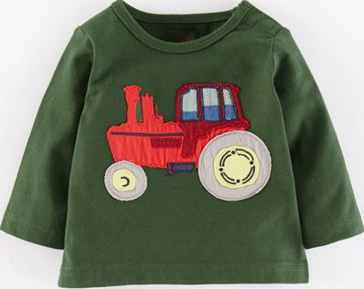 Mini Boden, 1669[^]34975102 Vehicle Appliqué T-shirt Forest Green Tractor