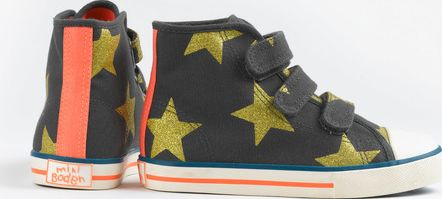 Mini Boden, 1669[^]34918540 Velcro High Tops Graphite/Gold Stars Mini Boden,