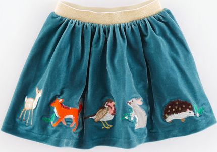 Mini Boden, 1669[^]35156132 Velvet Appliqué Skirt Velvet Green Woodland