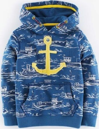 Mini Boden, 1669[^]34915587 Vintage Hoody Coastal Blue/Boats Mini Boden,