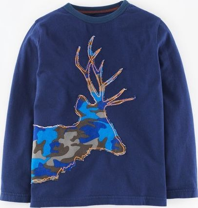 Mini Boden, 1669[^]34963694 Winter Animal T-shirt Navy/Camouflage Stag Mini