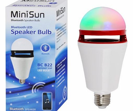 MiniSun 3w ES E27 LED Colour Changing RGB Bluetooth Music Speaker Light Bulb product image