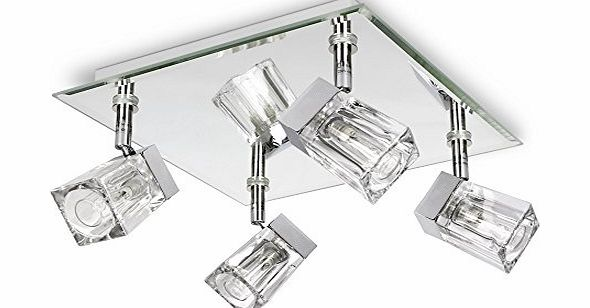 Modern Led Bathroom Ceiling Light Chrome Finish Ip44 Rated: Spot Lights Chrome 4 Light Bar Spotlight With Ice Cube G