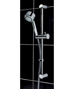 Chrome finish.4 head modes.Easy clean.Thermostatic controls.Flexible hose/riser rail and soap dish.W - CLICK FOR MORE INFORMATION