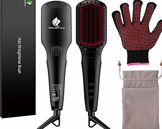MiroPure 2-in 1 Ionic Hair Straightener Brush MCH Heating Hair Straightening Irons with Free Heat Resistant Glove and Temperature Lock Function