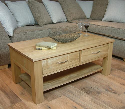 oak four drawer coffee table