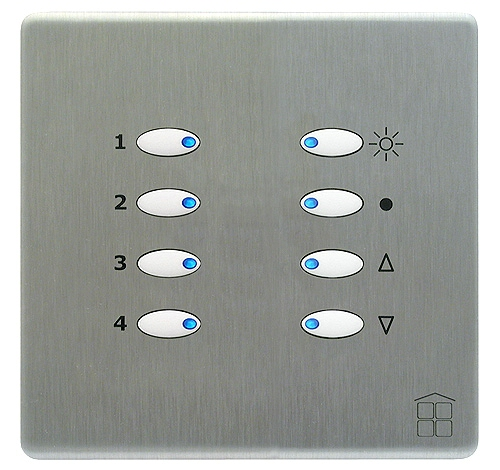 SceneStyle2 Brushed Stainless Finish - White Buttons