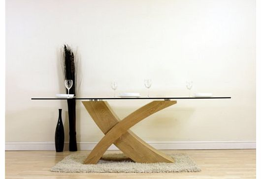 Oak glass dining table table only for Modern furniture direct