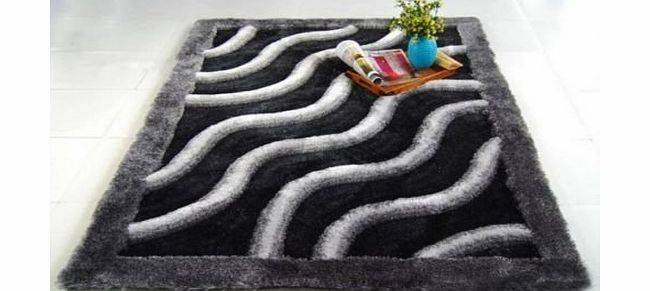 Modern Style Rugs Dark and Light Grey Soft Touch Modern Rug Handcarved 3D Effect Luxury Pile 140cm x 200cm product image