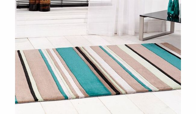 Modern Style Rugs Inspire Broad Stripe Teal 120cm x 170cm Made From Polyester Modern Design Home Floor Rug product image