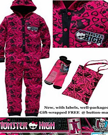 Monster High Onesie Girls Sleepover Kit - Set includes a hooded onesie / all-in-one pyjamas * a matching non-slip slipper socks and a tote bag * New with labels * Licensed merchandise (9-10 years)