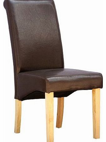 More4homes Cambridge Brown Faux Leather Dining Chair W