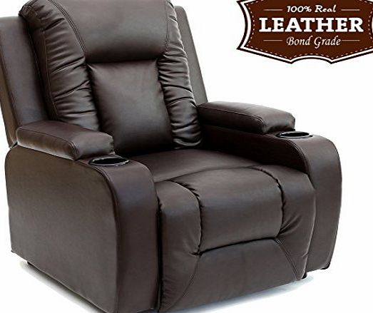 More4Homes OSCAR LEATHER RECLINER w DRINK HOLDERS ARMCHAIR SOFA CHAIR RECLINING CINEMA (Brown)
