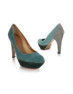 Three-tone Green Suede Platform Pump Shoes