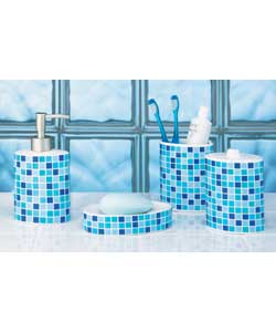 Mosaic bathroom accessories reviews for Blue mosaic bathroom accessories