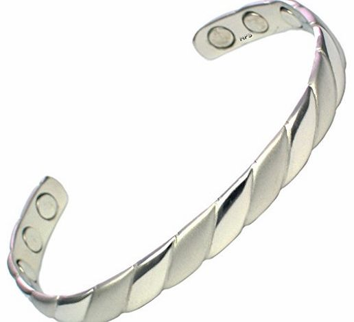 MPS Ladies Silver Tone Magnetic Bangle / Bracelet with Six magnets - Will fit a wrist up to 16.5 cm