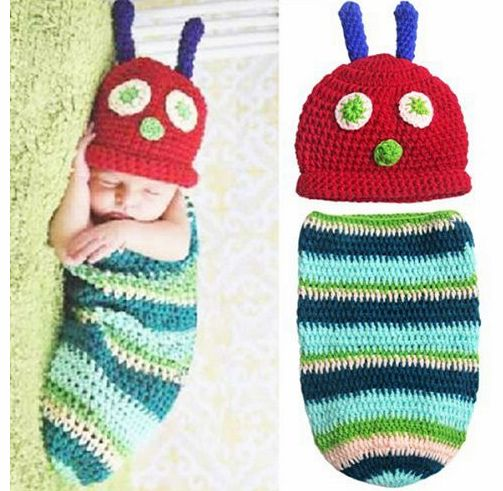 Museya Cute Caterpillar Style Baby Infant Newborn Handmade Crochet Beanie Hat Clothes Baby Photograph Props