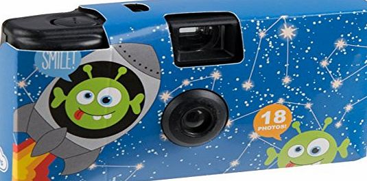 My Doodles Fun Novelty Childrens Character Design Portable Disposable Camera with 18 Exposures - Alien