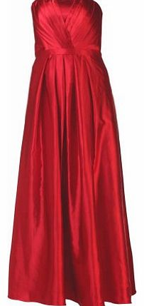 MY EVENING DRESS Long Bandeau Evening Dress Elegant Strapless Gowns Classic Satin Ball Prom Formal Bridesmaids Sleeveless pleated Cocktail Dresses Womens Ladies Burgundy Red Size 16 product image