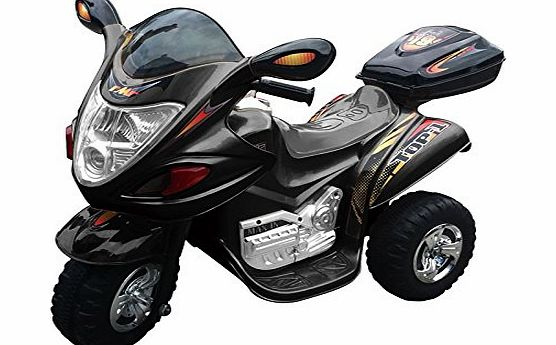 KIDS CHILDRENS ELECTRIC RIDE ON TOY POLICE MOTORBIKE TRIKE TRICYCLE MOTORBIKE BIKE 6V BATTERY (BLACK)