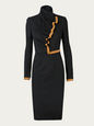 Spectacular black stretch wool dress with wonderful pleat detail with gold braid at centre front. Th - CLICK FOR MORE INFORMATION