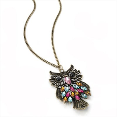Necklaces Bronze Multi-Coloured Crystal Owl Long Necklace AJ24475 product image