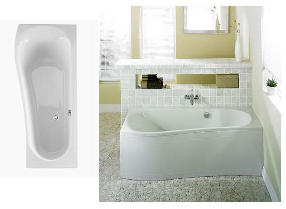 Bath 1700x700mm Space saver Right