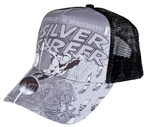 spaceways with this fantastic Silver Surfer Trucker cap from New Er
