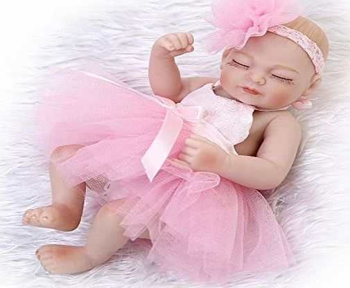 Nicery Doll Nicery Reborn Baby Doll Hard Silicone Vinyl 10inch 26cm Waterproof Toy Pink Dress Girl Eyes Close A3UK