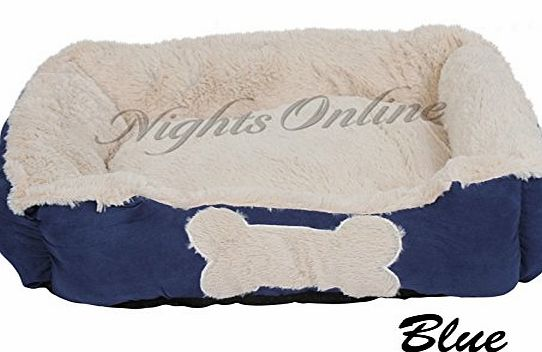 Nights Online SUPER SOFT LUXURY WASHABLE PET DOG BED CUSHION WARM BASKET 6 Colours AVAILABLE (Blue, Large)