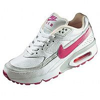 By Nike. Sizes 10-2 do not have air-sole unit in heel. Uppers: Leather