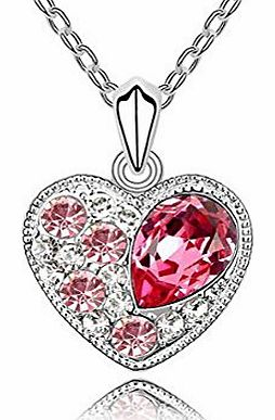 Christmas Gifts Ninabox Lover Jewellery Pink SWAROVSKI Crystal Heart Pendant White Gold Plated Ladies Necklaces Gold Chain Fashion Jewellery Girlfriend Wife Lover Birthday Gift Chain Length: 17cm. NF0
