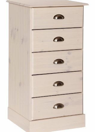 NJA Furniture Terra 5-Drawer Narrow Chest, 91 x 44 x 39 cm, White product image