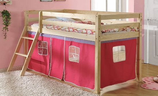 shorty cabin bed with pink tent 26 midsleeper ontario wooden cabin bed