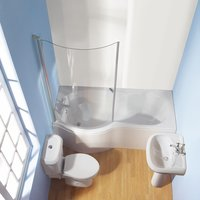 Wharf Shower Bath Bathroom Suite White Left Hand