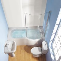 Wharf Shower Bath Bathroom Suite White Whirlpool Right Hand