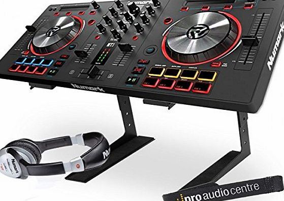 Numark Mixtrack Pro 3 Digital USB DJ Controller with Laptop Stand and Headphones