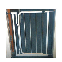 Standard safety gate wit a standard opening of 29 - 31.5 inches. Optional extensions available - CLICK FOR MORE INFORMATION