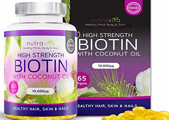 Nutravita Biotin with Coconut Oil (Full Year Supply) Hair Growth Supplement with Biotin 10,000 MCG by Nutravita