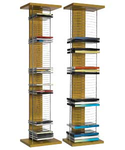 CD tower holds 65 CDs,  DVD tower holds 50 DVDs.CD tower (H)94, (W)24, (D)18cm.    DVD tower (H)94,  - CLICK FOR MORE INFORMATION