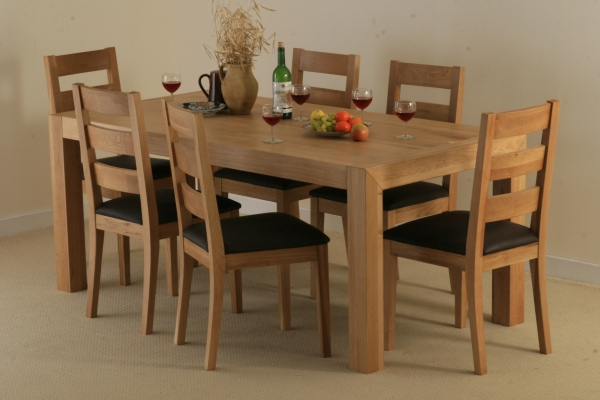 oak furniture land pablo solid oak dining set with 6 solid oak chairs