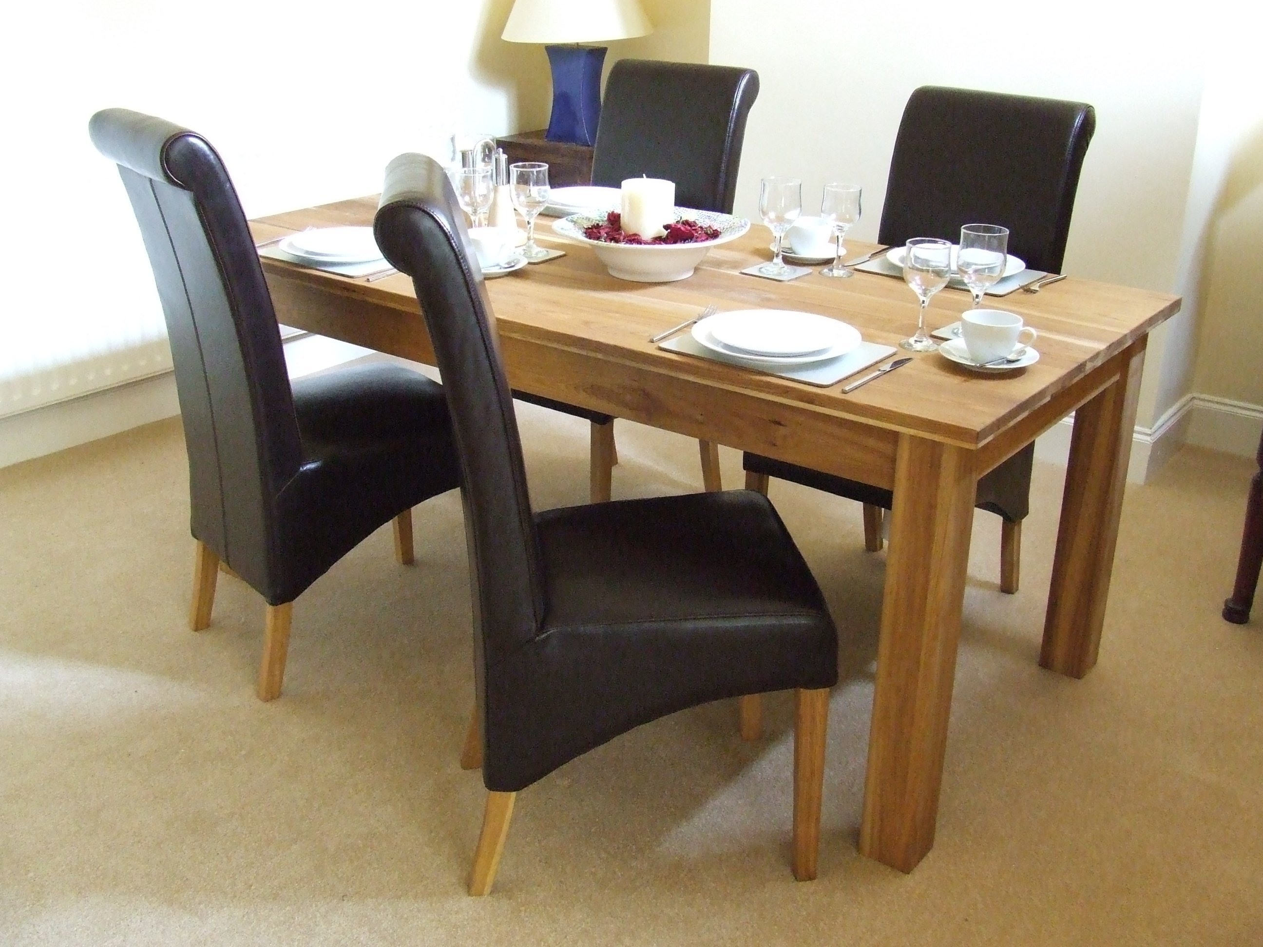 Oak solid oak dining table set 160cm leather dining for Dining table set