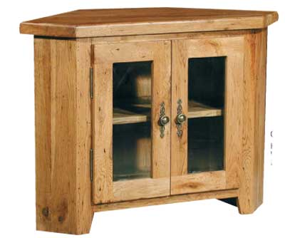 TV UNIT CORNER GLAZED COTSWOLD RUSTIC