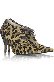 Leopard print ponyskin lace-up ankle boots with a 100mm heel. . - CLICK FOR MORE INFORMATION