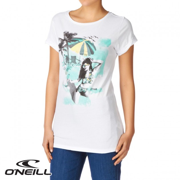 O neill womens oneill lw sapin t shirt super white for Women s crew t shirts