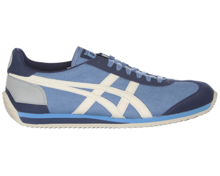 Onitsuka Tiger California 78 CV Light Blue/Off White Canvas Trainers Colourway; Light Blue Off White Light blue canvas uppers with trademark Asics Onitsuka side stripes in off white suede. Navy suede heel tab with silver reflective circle. Navy suede - CLICK FOR MORE INFORMATION
