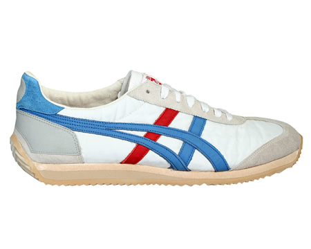 Onitsuka Tiger California 78 OG Vintage White/Blue Trainers Colourway; White Daphne White synthetic material uppers with trademark Asics Onitsuka side stripes in blue with one stripe in red leather with Vintage (pre-aged) look. Blue suede heel tab wi - CLICK FOR MORE INFORMATION