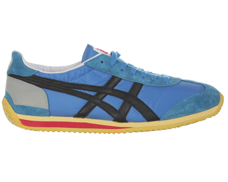 Onitsuka Tiger California 78 Vintage Blue/Black Mesh Trainers Colourway; Grey Orange Blue mesh upper with trademark Asics Onitsuka Tiger side stripes in vintage black leather. Metallic grey reflective heel trim ideal for outdoor exercise. A blue sued - CLICK FOR MORE INFORMATION