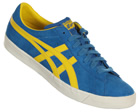 Onitsuka Tiger Fabre BL-S OG Blue/Yellow Suede Trainers Colourway; Blue Yellow Blue suede upper with trademark Asics Onitsuka side stripes in yellow leather. White synthetic midsole with blue patterned sole. FABRE is derived from the Fast Break move  - CLICK FOR MORE INFORMATION